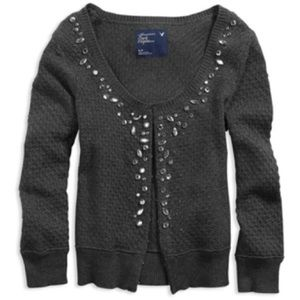 American Eagle Grey Cardigan w/ Gems, Size XL
